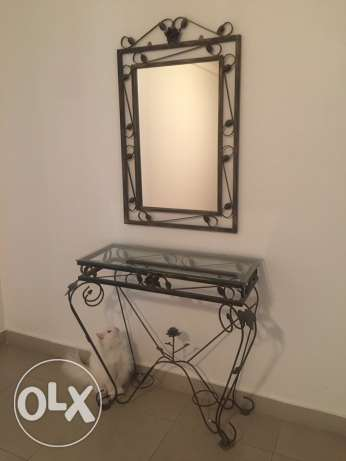 Console and mirror set