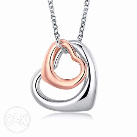 Platinum Rose Gold Plated Double Heart Jewelry Necklace