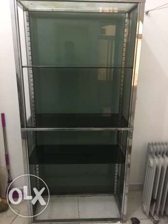 STAINLESS STEEL with GLASS large cupboards for kitchen