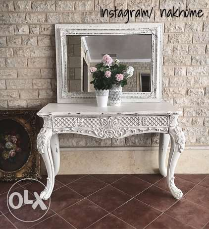 white carved wood console entry table