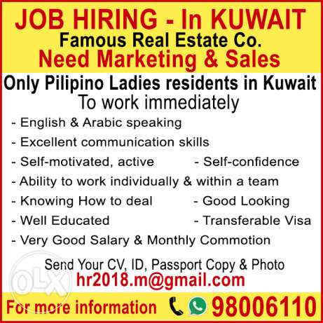 Sales Only Pilipino Ladies residents in Kuwait