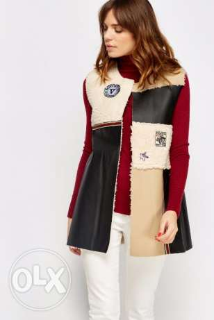 Badge Faux Leather Blocks Gilet