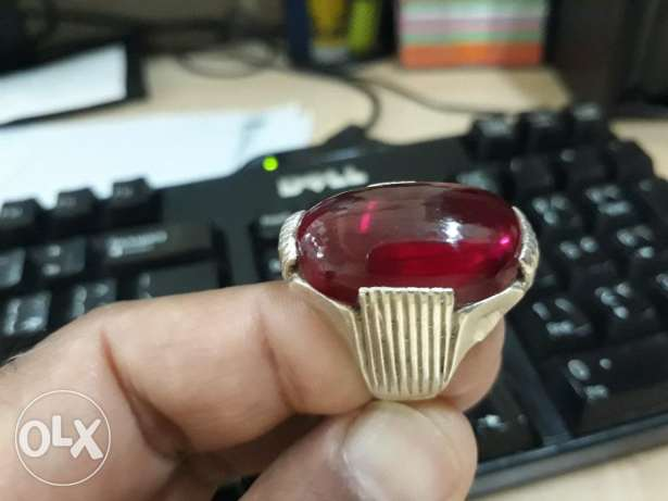 Precious Yaqoot Stone (Pomegranate) color in Silver Gold Ring for sale