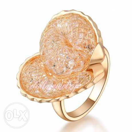 18K Yellow Gold GP Net Mesh CZ Heart Shape Austrian Crystals Ring