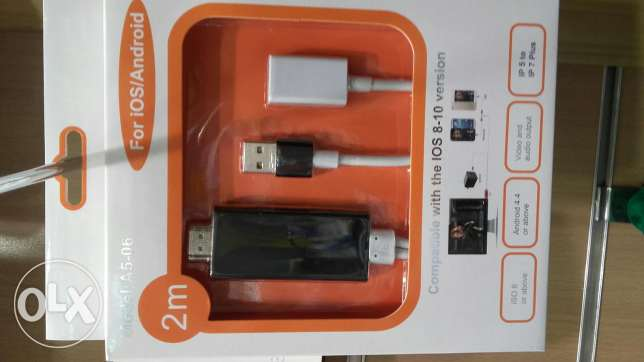 Hdmi cable for iphone and any samsumg device.