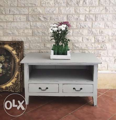 gray wood tv stand table