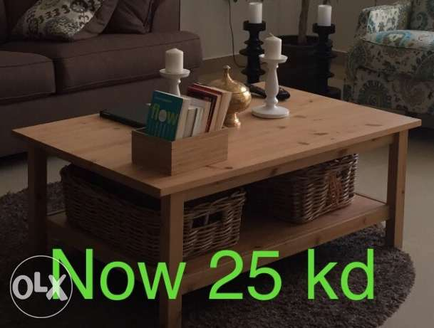 Wooden coffee table 118x75cm