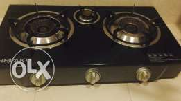 3 burner glass top gas stove