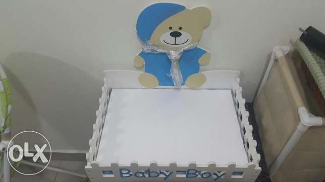 Baby boy chocolate serving wooden tray