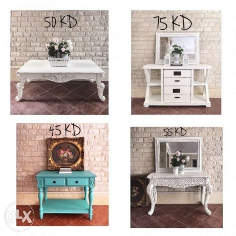 white painted wood entry console vanity table
