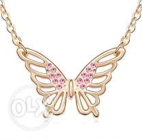 18K Gold GP Crystal Pink Butterfly Pendant Necklace