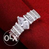 White Crystal Sterling Silver Queen Ring