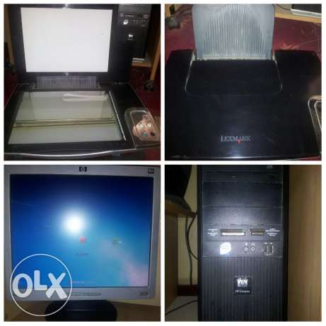 Desktop PC with LCD monitor n 3in1 color printer