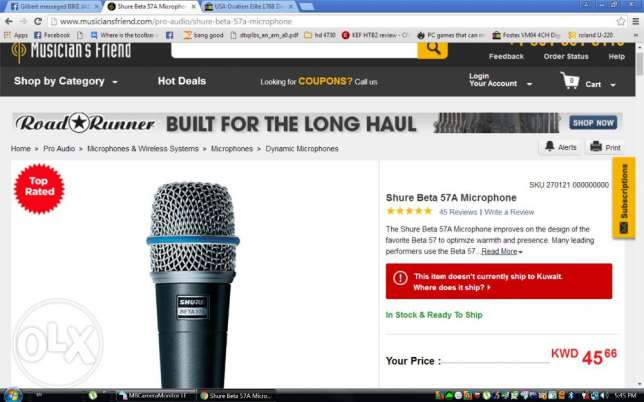 Used Shure Beta57A microphone for sale good as new!