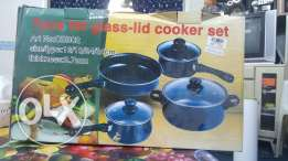 7 pcs fat glass-lid cooker set