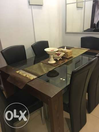 Six Seater Dining Table Brown Black Mahboula