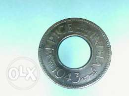 world war time Indian-British coin