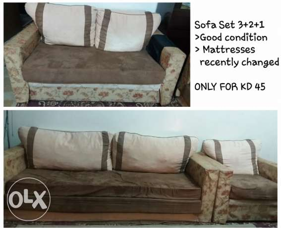Sofa 3+2+1, centre wooden table and centre carpet