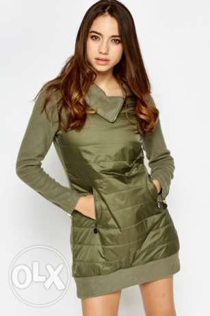 Quilted Panel Olive Jumper Dress