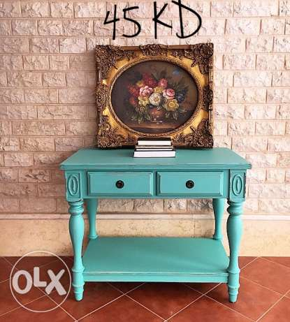 Turquoise blue shabby chic wood console table / desk