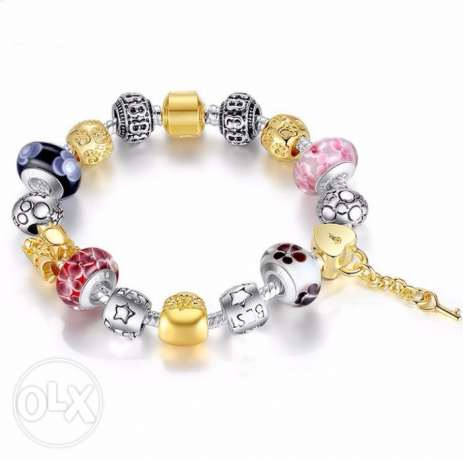 European Gold Plated Charm With Murano Glass Bracelet