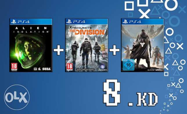 Special offer 3 Ps4 Games for 8 kd only