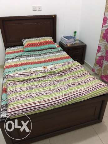 Single Bed with Mattress and Side Table