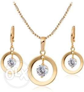 18K Gold Filled Clear CZ Hoop Earrings Necklace Circle Design Pendant