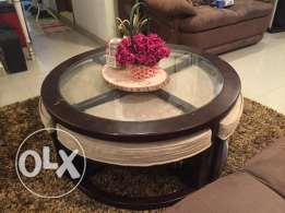 Coffee Table with 4 Stools: