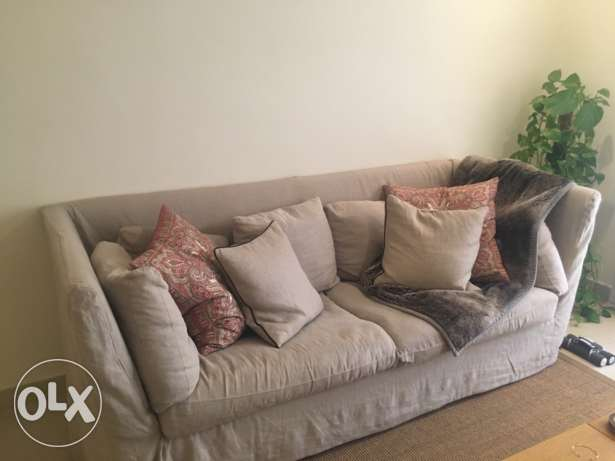 two seater linen sofa