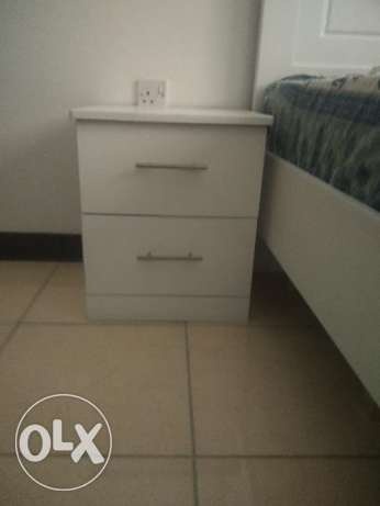 Large Single Bed with Side table & 4 Door Cupboard