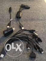 Multiple assorted USB cables