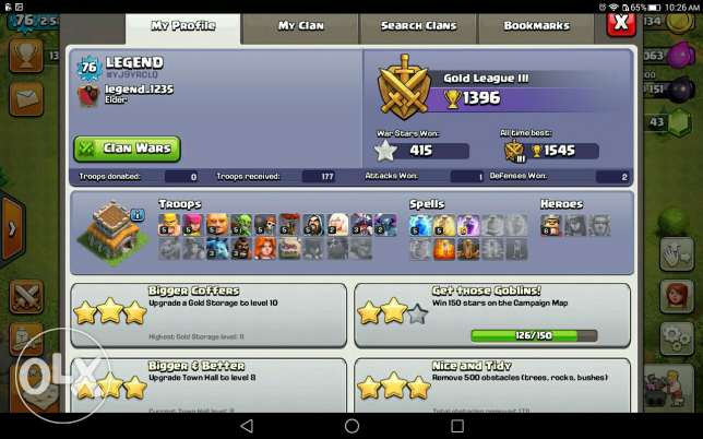 Clash of clans id is for sale th 8 almost max.