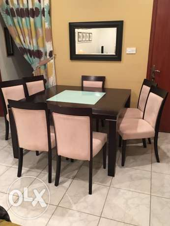 Table with 8 chair and cabinet السالمية -  1