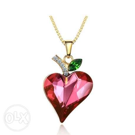 14k Gold Plated Red Swarovski Crystal Love Heart Necklace