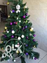 7 feet Christmas tree and a throw Away Price with Decorations - 25 KWD