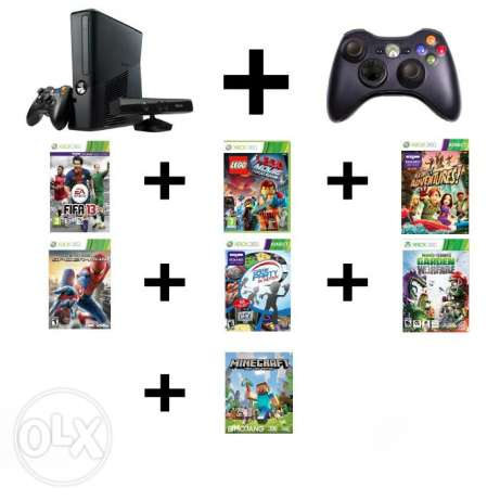 Xbox 360 + KINECT + Controller + 7 Games