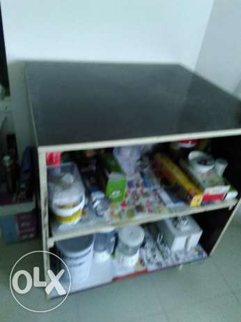 Storage Table with Shelves and Trolley
