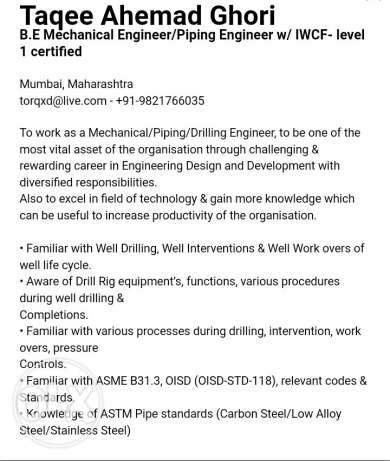 Mechanical/Piping Engineer with IWCF-level1 seeking Job