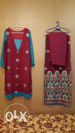Party Dress Large size, Maroon & Sky blue, 3 piece, stitched, Ready