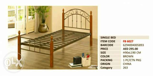 Metal bed with Wooden Legs (FREE HOME DELIVERY)