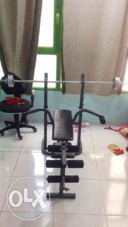 Exercise Bench with Dumbbells weights & Rod