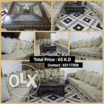 6 piece sofa set for sale with beautiful table & carpet