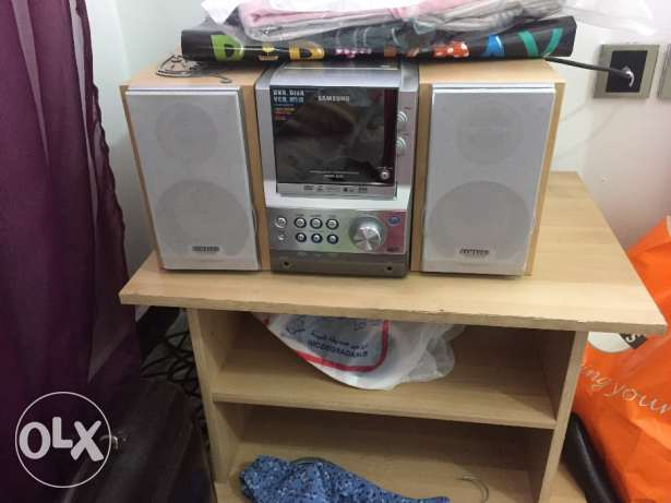 Stereo and small table
