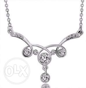 9K White Gold Filled AAA CZ Necklace with Pendant