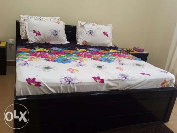 King Size teak wooden double bed with 6 inch spring mattress (< 1 yr)