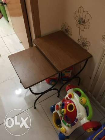 2 Small wooden top tables
