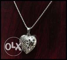 925 Ct. Silver Heart Shaped Pendant with Chain.