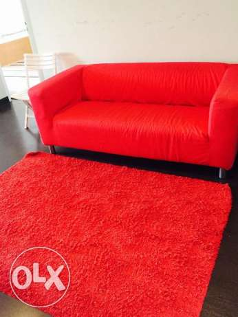 Red Colour 2 Seater Sofa + Red Rug in Salmiya