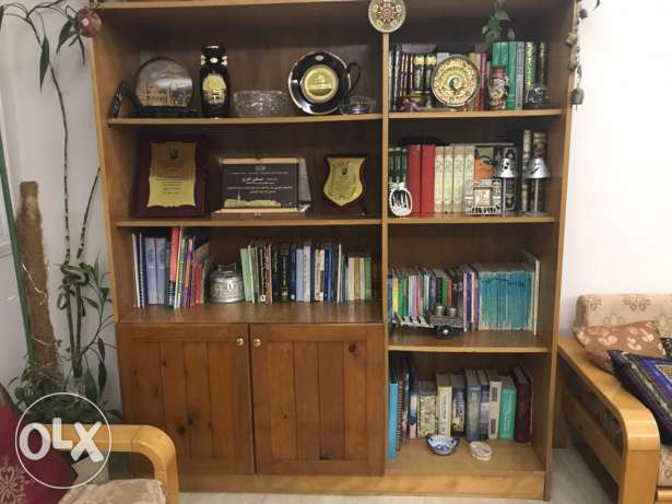 wooden bookcase with removable shelves
